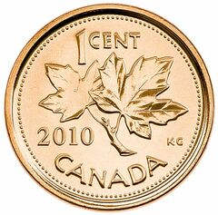 FULL CLOSE CUT CLOSECUT - 2010 penny - Royal Canadian Mint photo.