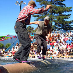 Members of the West Coast Lumberjack Show demonstrate their log rolling skills. The West Coast Lumberjack Show will be among the attractions at the 2014 Manitoba Summer Fair, which will be held June 4-8 at the Keystone Centre.