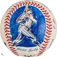This undated photo provided by Heritage Auctions, shows a baseball decorated in 1995 by sports artist LeRoy Neiman with a likeness of Babe Ruth. It is from the collection of bank marketing executive, which will be offered in a Heritage Auctions online sale on May 16. (AP Photo/Heritage Auctions)