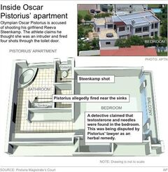 Graphic shows the layout of Oscar Pistorius'�� apartment