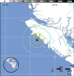 The USGS Pager map of the Port Hardy earthquake is shown. THE CANADIAN PRESS/United States Geological Survey