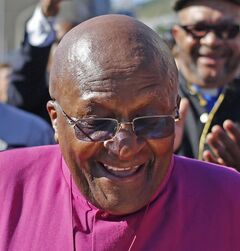 South African Archbishop Desmond Tutu, marches in Cape Town, April 19, 2014. THE CANADIAN PRESS/AP, Schalk van Zuydam