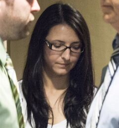 Emma Czornobaj is pictured at the Montreal Courthouse in Montreal, June 3, 2014. THE CANADIAN PRESS/Graham Hughes