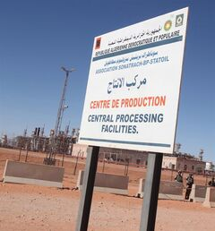 A sign marks the entrance of a Sonatrach Petroleum state owned gas plant, in Ain Amenas, Algeria on Jan. 31, 2013 THE CANADIAN PRESS/AP