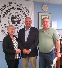 (From left) Brandon and District Labour Council president Jan Chaboyer, Brandon East NDP MLA Drew Caldwell and Brandon and District Worker Advocacy Centre president Del Davidson stand together at the MGEU office at 1625 Parker Blvd. in Brandon for the $56,000 announcement to establish the worker advocacy office.