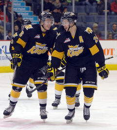 Jens Meilleur (right) and Ryley Lindgren and the rest of the Wheat Kings had plenty to smile about Sunday.