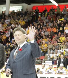 Brad McCrimmon salutes the crowd at Friday night's MasterCard Memorial Cup semi-final game at Westman Place.