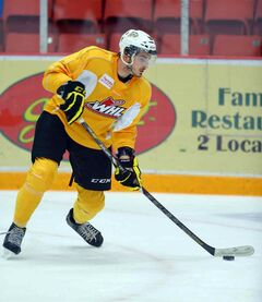 Richard Nejezchleb makes a move in Wheat Kings practice on Thursday.