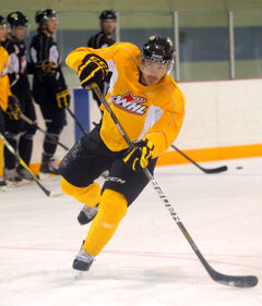 Brandon Wheat Kings centre Tyrel Seaman fires a shot during Monday afternoon's practice held at the Optimist Arena.