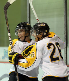 Rookie forwards Taylor Cooper (left) and Jack Palmer of the Brandon Wheat Kings celebrate a goal by Cooper during WHL pre-season action against the Regina Pats on Friday.