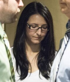 Emma Czornobaj is pictured at the Montreal Courthouse in Montreal, Tuesday, June 3, 2014. She is charged in the deaths of two people amid allegations she stopped her car on a highway to help some ducks. THE CANADIAN PRESS/Graham Hughes