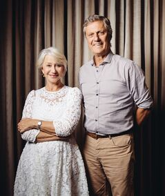 In this Saturday, July 12, 2014 photo, Helen Mirren, left, and Lasse Hallstrom pose for a portrait during press day for