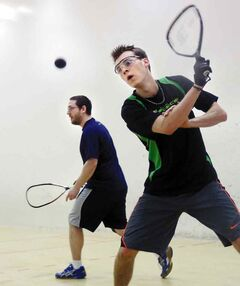 Brandon native Kurtis Cullen (foreground) battles Cameron Wachs in racquetball action at the Sportsplex back in April.