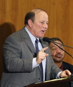 Detroit Mayor Mike Duggan delivers his first State of the City address, Wednesday, Feb. 26, 2014 in Detroit. Detroit Mayor Mike Duggan said Wednesday that