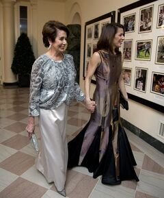 House Democratic Leader Nancy Pelosi, D-Calif., and Jacqueline Kenneally, arrive for a State Dinner in honor of French President Fran�ois Hollande, at the White House in Washington, Tuesday, Feb. 11, 2014. (AP Photo/Manuel Balce Ceneta)