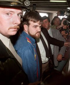 Denis Lortie, the suspect of a shooting spree at the Quebec National Assembly in Quebec City, arrives at Quebec Sessions Court, Wednesday May 9, 1984. It was 30 years ago that Canadian army supply clerk Denis Lortie sprayed gunfire in the legislature in an attack that left three people dead and 13 others wounded. THE CANADIAN PRESS/Fred Chartrand