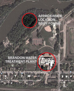 A map shows the Assiniboine River-area location where human remains were found on Tuesday night.