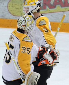 Jordan Papirny replaced starting netminder Curtis Honey in the first period on Friday.