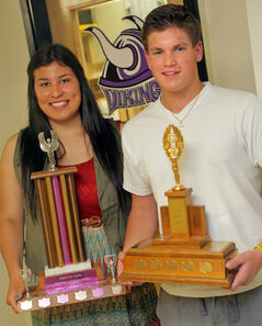 Vincent Massey athletes of the year Brittany Boschman and Clark Whelpton.