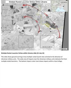 This fourth page of a four page document released by the U.S. State Department in Washington, July 27, 2014 shows a satellite image that purports to shows ground scarring at two multiple rocket launch sites oriented in the direction of Ukraine military units. The wide area of impacts near the Ukrainian military units indicates fire from multiple rocket launchers. The bottom impact crater shows impact within a local village. The United States says the images back up its claims that rockets have been fired from Russia into eastern Ukraine and heavy artillery for separatists has also crossed the border. (AP Photo/U.S. State Department)