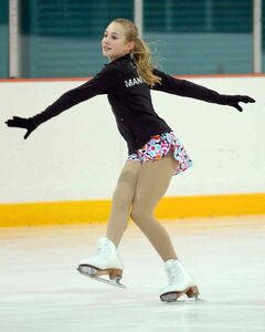 Brandon's Tori Thiessen warms up Monday night at the Kinsmen Arena.