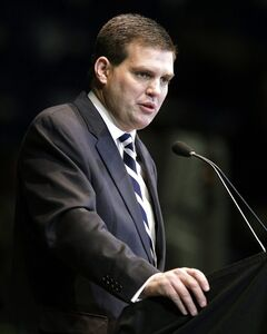 FILE - In this Jan. 26, 2012 file photo, Jay Paterno, son of former Penn State football coach Joe Paterno, speaks during a memorial service for Joe Paterno in State College, Pa. Jay Paterno and former assistant football coach at Penn State William Kenney are suing the university over how they were dismissed from the staff when Bill O'Brien was hired as head coach two years ago. Paterno and Kenney filed a lawsuit Monday, July 21, 2014, in Philadelphia federal court that seeks more than $1 million. (AP Photo/Gene J. Puskar, File)
