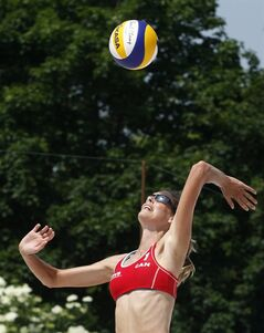Sarah Pavan jumps for a ball at the Prague Open in a recent photo. THE CANADIAN PRESS/HO, FIVB