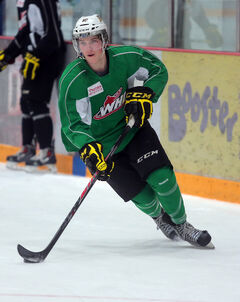 Nolan Patrick skates during Wheat Kings practice Monday at Westman Place.