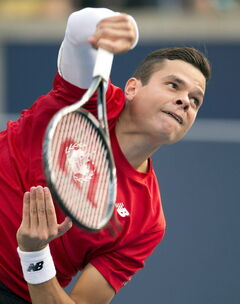 Milos Raonic, of Canada, serves during his third round win over Julien Benneteau, of France, in Rogers Cup tennis action in Toronto on Thursday.