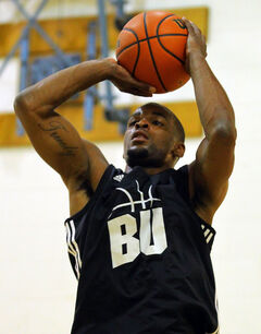 New Brandon University Bobcats guard Kenonte Ramsey takes a shot during practice on Monday night.