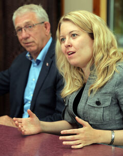 Michelle Rempel, minister for Western Economic Diversification, sits down with Brandon-Souris Conservative MP Larry Maguire on Monday. The two met with local business leaders and addressed changes to the Temporary Foreign Worker Program.