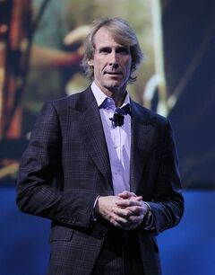 Director Michael Bay appears at a Samsung news conference at the International Consumer Electronics Show, Monday, Jan. 6, 2014, in Las Vegas. (AP Photo/Isaac Brekken)