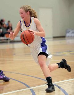 Virden Golden Bears point guard Heidi Smith heads up court on Friday.