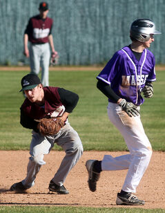 Vincent Massey baserunner Jordy Stallard dashes back to second base as Crocus Plains' Kyle Johnston fields a grounder in high school baseball Wednesday at Andrews Field.