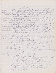 In this image released Tuesday, May 6, 2014, by Sotheby's, an autographed manuscript signed by Bruce Springsteen is shown. The piece of lined paper is going on display Thursday, May 8, 2014, at Duke University. Floyd Bradley bought the lyrics at Sotheby's auction late last year and is letting Duke display them through the end of June. (AP Photo/Sotheby's)