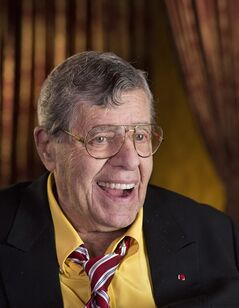 "This April 14, 2014 photo shows actorr and comedian Jerry Lewis during an interview at TCL Chinese Theatre in Los Angeles. After nearly 70 years in show business, Lewis continues to do standup and serve as leader of the storied Friars Club. On Thursday, he'll host a dinner at the venerable comedy institution to celebrate the 50th anniversary of his film ""The Nutty Professor."" (Photo by Dan Steinberg/Invision/AP)"