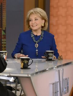 This image released by ABC shows Barbara Walters on the set of her daytime talk series