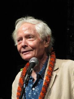 FILE - In this Tuesday, Aug. 2, 2011, file photo, U.S. poet laureate W.S. Merwin speaks to the Hawaii Conservation Conference in Honolulu. At 86 years of age, Merwin continues to work. (AP Photo/Audrey McAvoy, File)