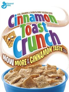 "This image provided by General Mills shows its new Cinnamon Toast Crunch cereal box. Minneapolis-based General Mills is doing things like adding more cinnamon to its Cinnamon Toast Crunch cereal and rolling out fiber-packed ""better for you"" cookies to boost the performance of its brands. (AP Photo/General Mills)"