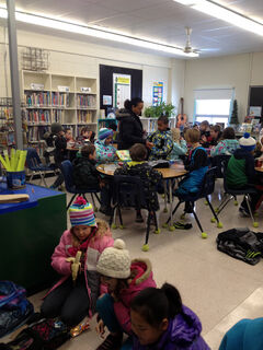 Students stay bundled up in class at Green Acres School on Tuesday.