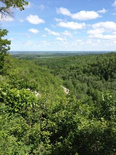 The new Reeve's Ravine trail has beautiful views across the ravine. The 11.5-km trail is perfect for mountain biking or hiking.