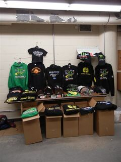Some of the clothing seized from a Brandon Shoppers Mall store that RCMP allege was unlicensed.