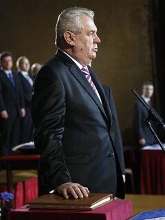Newly elected Czech President Milos Zeman swears on the constitution during his inauguration ceremony at the Prague Castle in Prague, Czech Republic, Friday, March 8, 2013. (AP Photo/Petr David Josek)