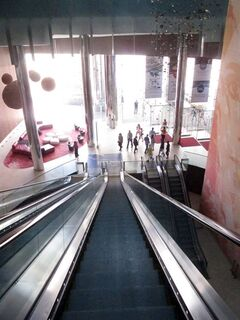 This May 30, 2014 photo shows the giant escalator that patrons entering from the Boardwalk must take to get to the casino floor of Revel Casino Hotel in Atlantic City N.J. The $2.4 billion casino filed for bankruptcy on June 19, 2014, the second time in as many years it sought bankruptcy court protection, and warned that it will shut down this summer if a buyer cannot be found. (AP Photo/Wayne Parry)
