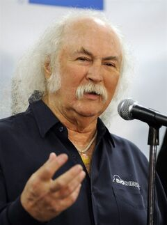 FILE - This Oct. 29, 2009 file photo shows, David Crosby in the press room at the 25th Anniversary Rock & Roll Hall of Fame concert at Madison Square Garden, in New York. Crosby has undergone heart surgery and he's postponing sold-out California shows. Publicist Michael Jensen tells City News Service on Monday, Feb. 17, 2014, that the 72-year-old Crosby had a cardiac catheterization last week to fix a blocked coronary artery. (AP Photo/Henny Ray Abrams, file)