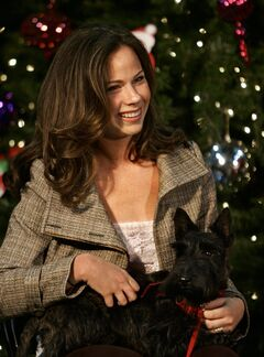 CORRECTS TO MISS BEAZLEY -File- This Dec. 7, 2005, file photo shows Barbara Bush holding Miss. Beazley, while accompanying her mother on a visit to the Children's National Medical Center in Washington. Miss Beazley, former President George W. Bush's beloved Scottish terrier, has died. Bush's office announced Saturday, May 17, 2014, that Miss Beazley was