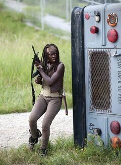 FILE - This file publicity image released by AMC shows Danai Gurira as Michonne in a scene from the series