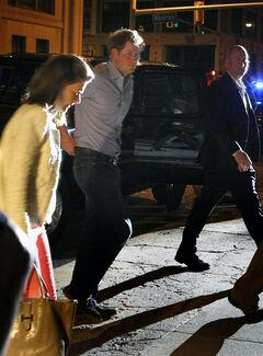 "FILE - In this Thursday May 1, 2014, photo, Britain's Prince Harry steps out of a vehicle to eat at Rendezvou in downtown Memphis, Tenn. Prince Harry and Prince William are visiting Memphis for the Saturday wedding of former Memphian Elizabeth ""Lizzy"" Wilson and London nightclub owner Guy Pelly. (AP Photo/The Commercial Appeal, Karen Pulfer Focht)"