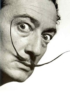 Famous moustache graces the face of artist Salvador Dali.