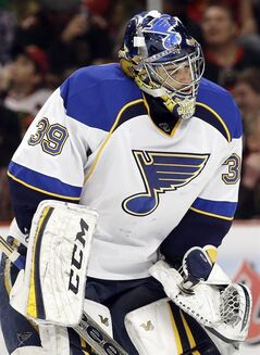 St. Louis Blues goalie Ryan Miller skates on the ice during the second period in Game 6 of a first-round NHL hockey playoff series against the Chicago Blackhawks in Chicago, Sunday, April 27, 2014. The Blackhawks won 5-1. (AP Photo/Nam Y. Huh)
